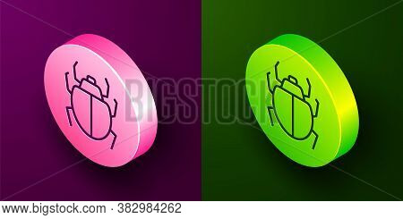 Isometric Line Mite Icon Isolated On Purple And Green Background. Circle Button. Vector
