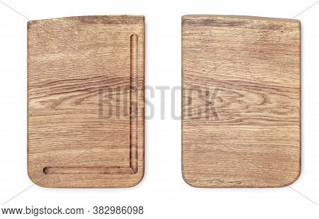 Wooden Cutting Board Top View Isolated On White Background. Texture Of Wooden Chopping Board. Two Si