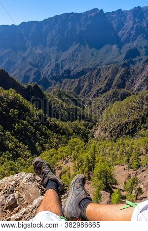 Feet Of A Young Man Resting After Trekking On Top Of La Cumbrecita In The High Mountains Of La Palma