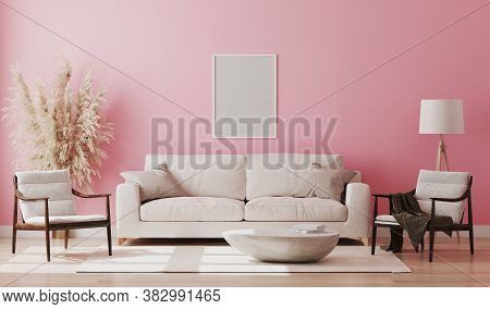 Blank Picture Frame Mock Up In Pink Room Interior , 3D Rendering