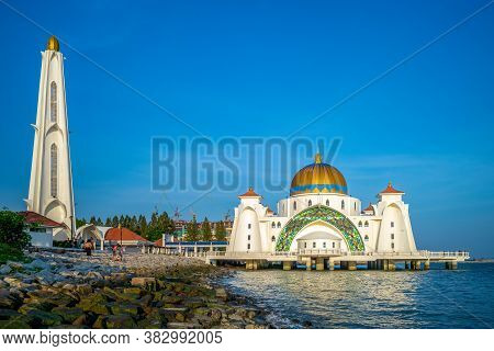 August 13, 2018: Beautiful Floating Masjid Selat Melaka By The Sea Located In Malacca, Malaysia