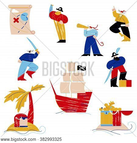 Set Of Pirates In Costumes And Objects Connected With Pirates Life