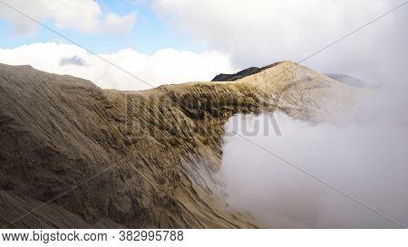 Landscape Of Volcano Mount Bromo Gurung In Indonesia, East Java