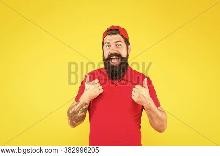 Hiring Shop Worker. Hipster Cashier. Delivery Service. Restaurant Cafe Staff Wanted. Man Bearded Tat