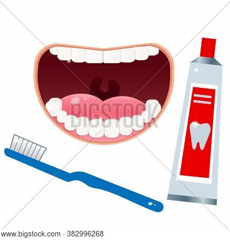 Open Mouth With White Clean Teeth And Toothbrush, Toothpaste. Health And Hygiene. Vector Set For Den
