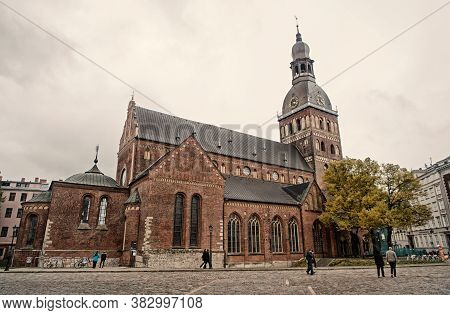 Old City Architecture Concept. Architectural Heritage. Old Or Ancient Church Or Cathedral With Many