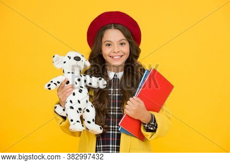Happy Childhood. School And Fashion. Child In Pupil Uniform. Kid In French Beret On Yellow Backgroun