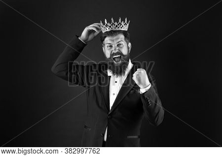 Winner Concept. Royal Duty Suggests. Handsome King. Man Representing Power And Triumph. Business Kin