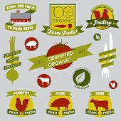 Vintage style food labels for organic farming products poster