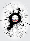 multicolor ink stain based vector composition or banner poster