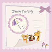 baby shower card with pink umbrella and animals poster