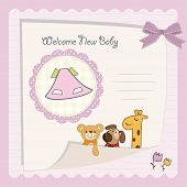 baby shower card with pink little dress poster