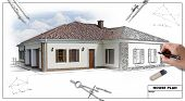 House plan blueprints 2 designer's hand, outdoors shot poster