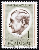 a stamp printed in the Portugal shows Antonio Salazar, President, circa 1971 poster