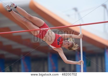 DONETSK, UKRAINE - JULY 13: Zoe McKinley of USA competes in the final of pole vault during 8th IAAF World Youth Championships in Donetsk, Ukraine on July 13, 2013