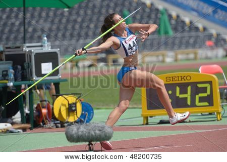 DONETSK, UKRAINE - JULY 13: Lucia Quaglieri of Italy competes in the javelin throw in Heptathlon girls during 8th IAAF World Youth Championships in Donetsk, Ukraine on July 13, 2013