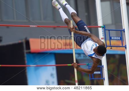 DONETSK, UKRAINE - JULY 12: Alioune Sene of France competes in Pole Vault during 8th IAAF World Youth Championships in Donetsk, Ukraine on July 12, 2013