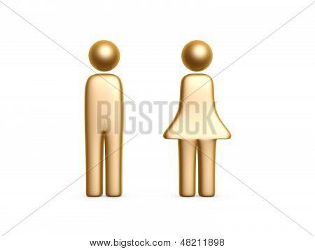 Gold Man And Woman Symbol