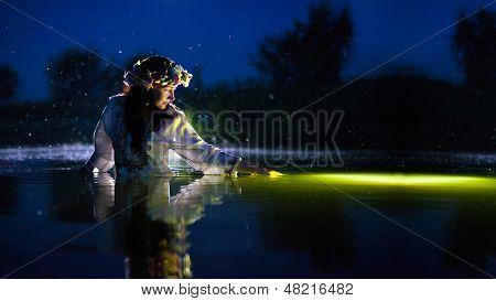 Beautiful Woman In The Night Rive