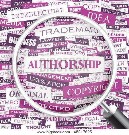 AUTHORSHIP. Concept vector illustration. Word cloud with related tags and terms. Graphic tag collection. Wordcloud collage.