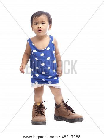 Baby Wearing Safety Shoe Isolated White