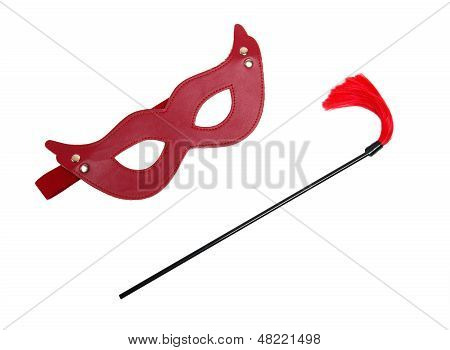 Red Fetish Mask And A Whip