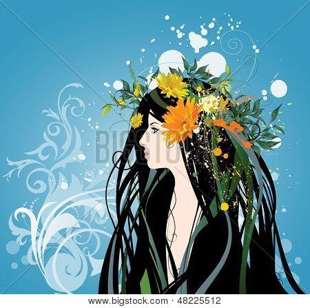 Women and Flowers. Raster version of vector illustration