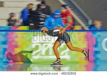 INNSBRUCK, AUSTRIA - JANUARY 18 Sanneke de Neeling (Netherlands) wins the ladies' 3000m speed skating event on January 18, 2012 in Innsbruck, Austria.