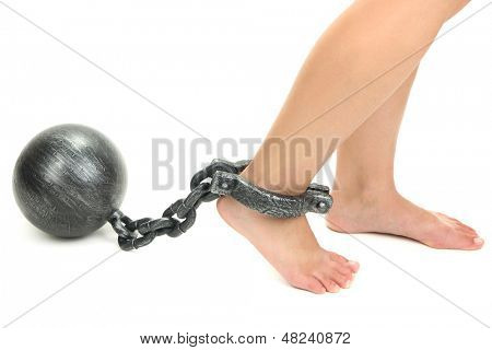 Legs in heavy iron shackles isolated on white
