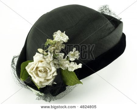 Antique Ladies Hat With Flowers On White