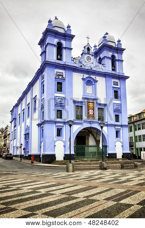 Igreja da Misericordia, blue church at Angra do Heroismo, Terceira island, Azores