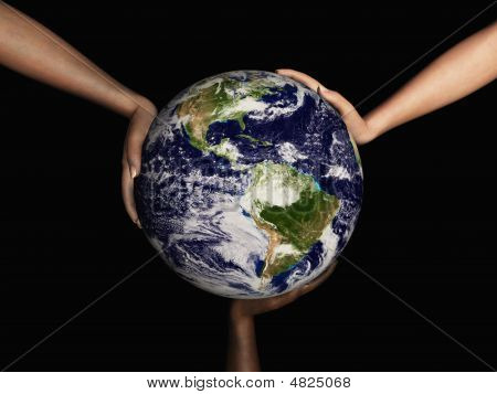 Earth Held By 3 Hands