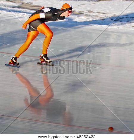 INNSBRUCK, AUSTRIA - JANUARY 18 Bastijn Boele (Netherlands) places 8th in the men's 3000m speed skating event on January 18, 2012 in Innsbruck, Austria.