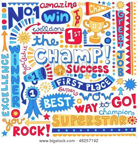 The Champ Success Word Doodles- Sports Trophy Winner Notebook Doodles-  Illustration Hand-Drawn Lettering Design Elements Set