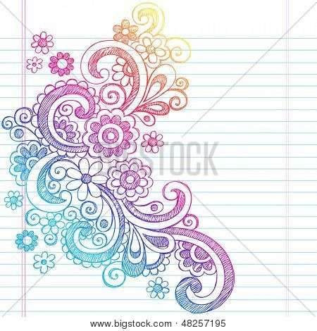 Flower Power Back to School Sketchy Notebook Doodles-Illustration Design on Lined Sketchbook Paper Background