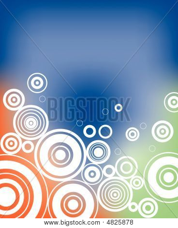 Groovy background with tie dye and circles poster