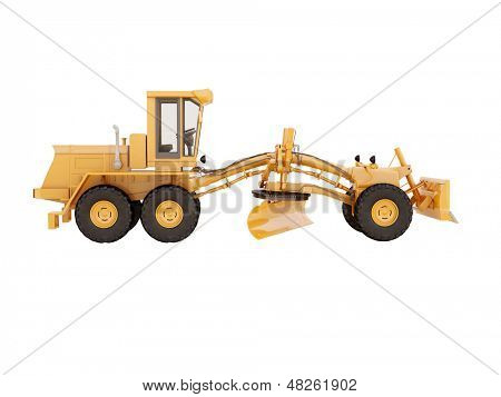 Modern three-axle road grader isolated on a white background