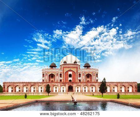India Delhi Humayun tomb mausoleum. Indian architecture monument