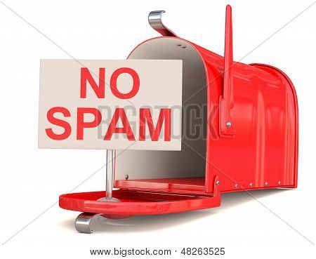No Spam Sign And Red Male Box. 3D Model