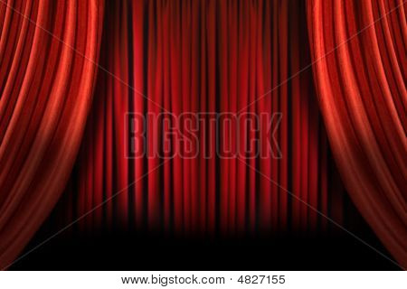 Old Fashioned Elegant Stage With Swag Velvet Curtains