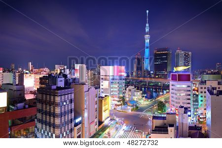 Tokyo, Japan cityscape viewed from Asakusa and the Sumida district.