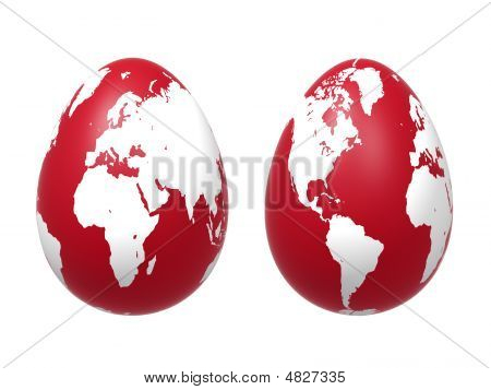 Two 3D Eggs World In Red