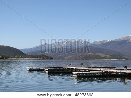 Docks on Lake Dillon, Colorado
