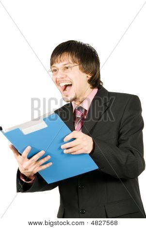 Happy Smiling Businessman With Folder Isolated On White