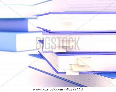 Books With Bookmarks And Depth Of Field