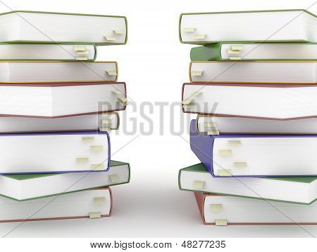 Two Stacks Of Books With Bookmarks