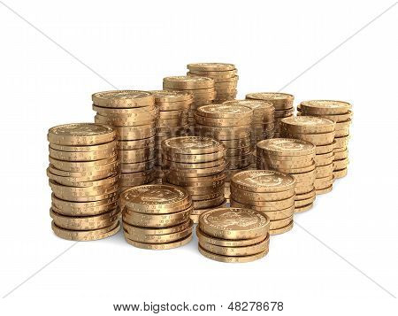Different Stacks Of Coins On White