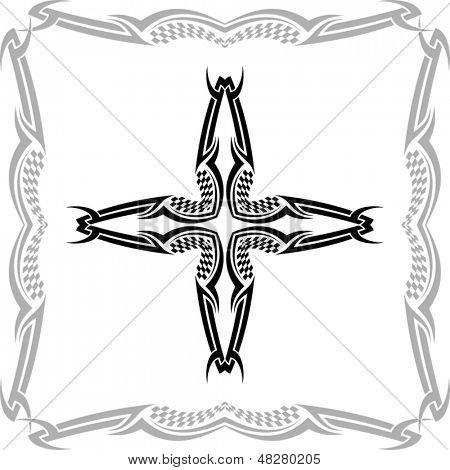 Checker Flag Cross Christian with Border
