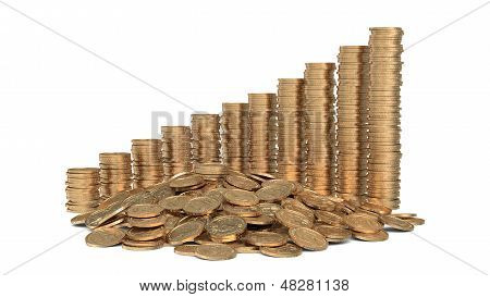 Heap Of Coins With Diagram Of Golden Coins
