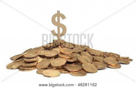 Heap Of Coins With Sign Of Dollar